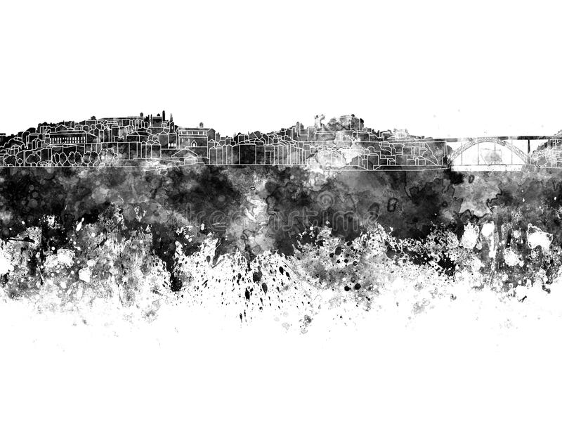 Porto-Skyline im schwarzen Aquarell stock abbildung