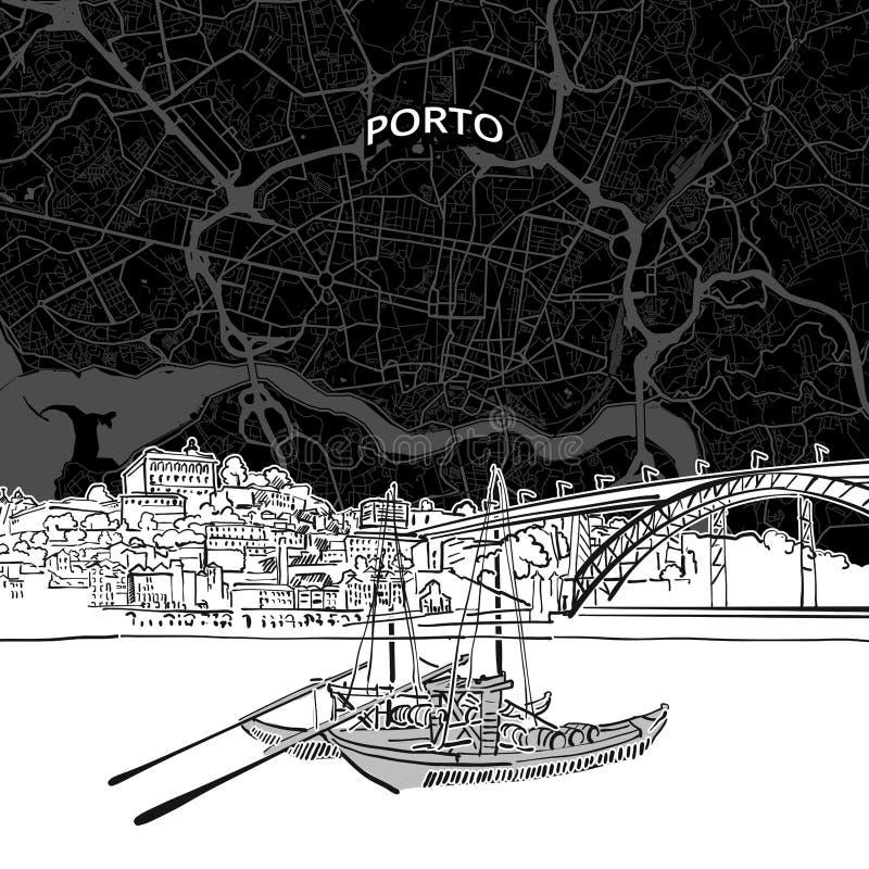 Porto-Skyline mit Karte stock abbildung