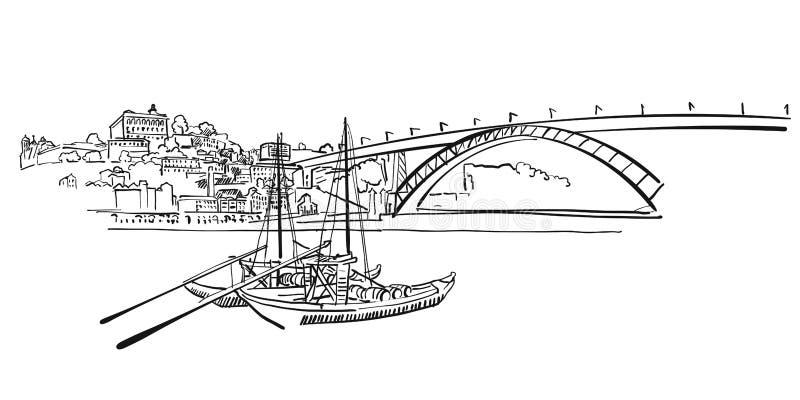 Porto-Skyline-Panorama-Illustration lizenzfreie abbildung