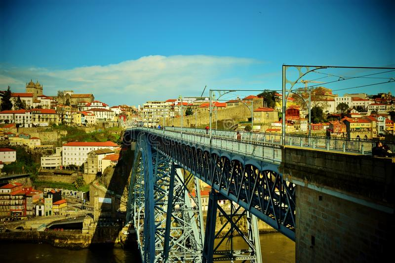 Porto in Spring. Springtime in Porto the River Douro meandering through the city and onward to The Atlantic Ocean royalty free stock images