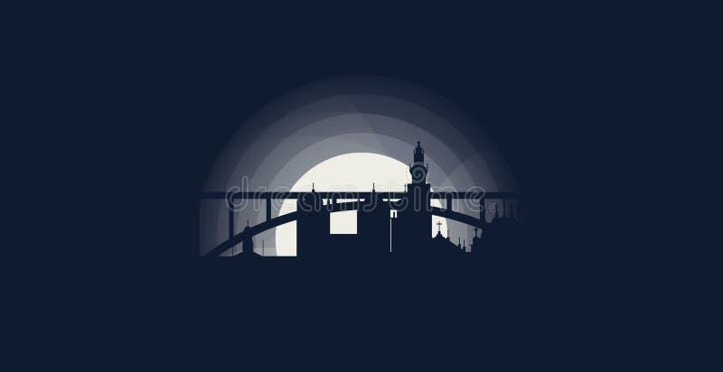 Porto-Stadtskylineschattenbildvektor-Logoillustration vektor abbildung
