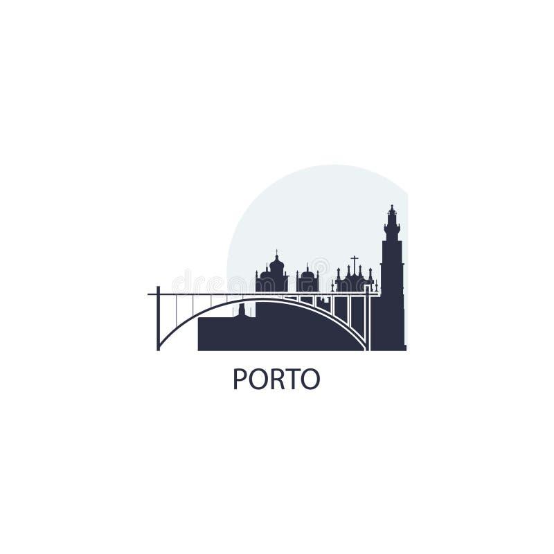 Porto-Stadtskylineschattenbildvektor-Logoillustration lizenzfreie abbildung