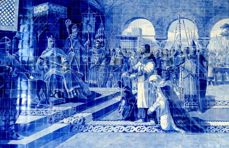 Porto Tile Painting. A tile painting in the Porto (Portugal) train station is depicting the birth of the Portuguese nation. The Kingdom of León, an independent royalty free stock image