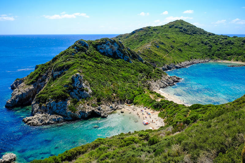 Porto-Timoni, the most famous and beautifull beach in Corfu. Island, Greece. Important tourist attraction royalty free stock image