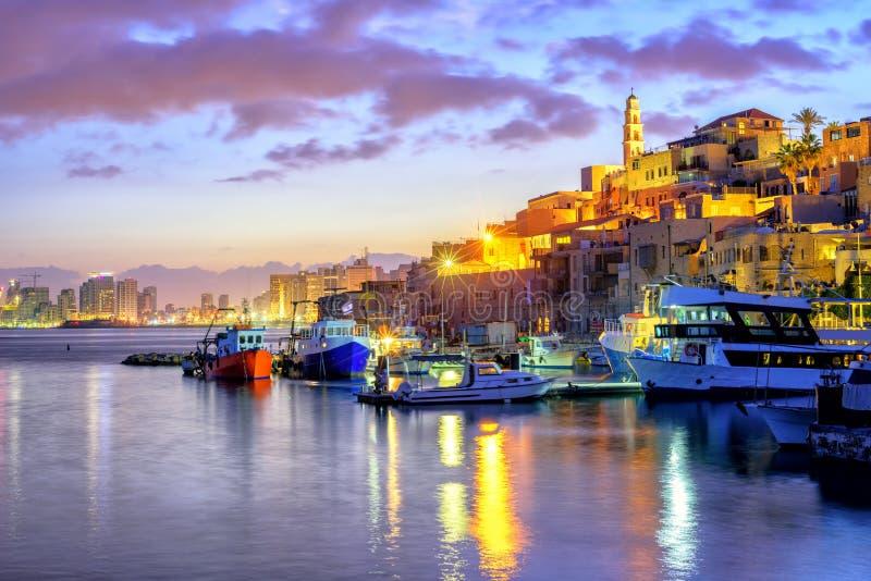Porto velho da cidade de Yafo no por do sol, Tel Aviv, Israel imagem de stock royalty free