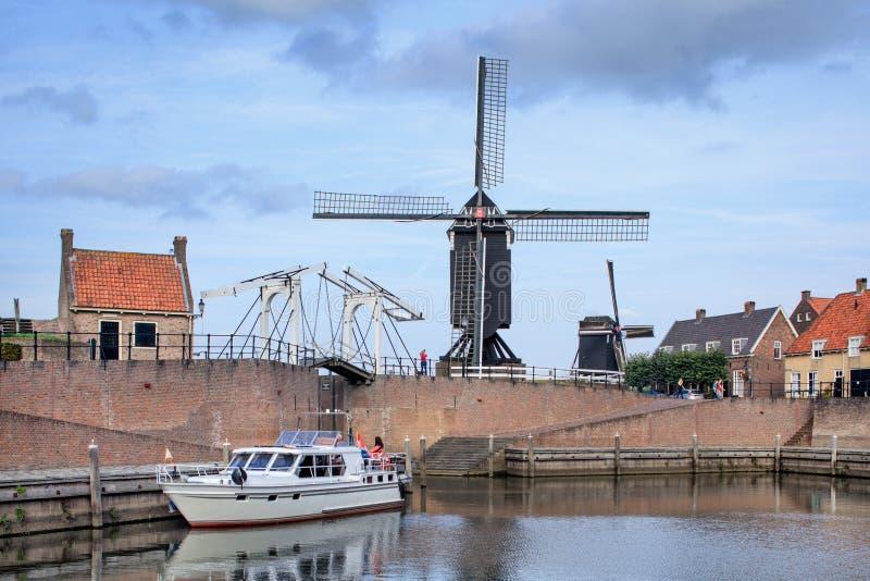 Porto velho da cidade Heusden Fortified, Brabante, Países Baixos fotos de stock