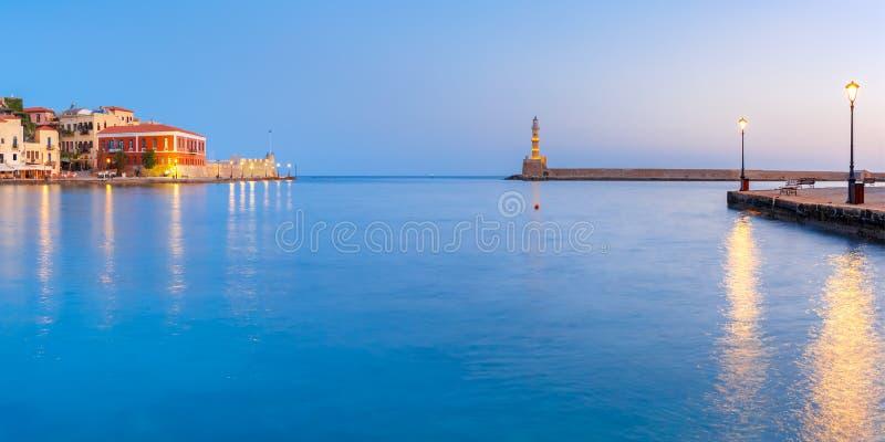 Porto velho do panorama, Chania, Creta, Grécia imagem de stock royalty free