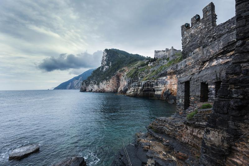 Porto Venere, Italy. Doria castle on the cliff, province La Spezia. Cinque terre, Italy stock photo