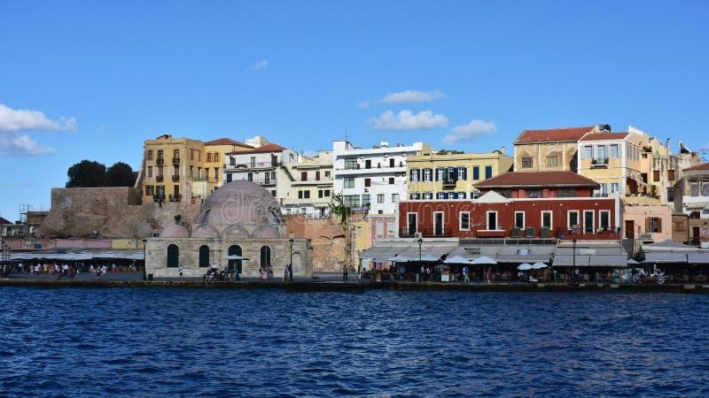 porto venetian na cidade Chania, Creta da ilha imagem de stock