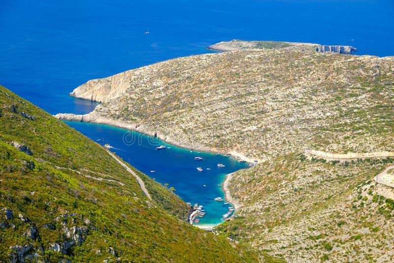Porto Vromi Baai Zakynthos Toeristische aantrekkelijkheid wegens c stock afbeelding