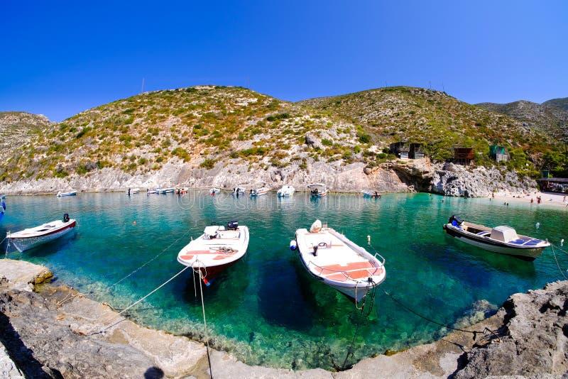 Porto Vromi het panorama van Baaizakynthos Toeristische aantrekkelijkheid omdat stock foto
