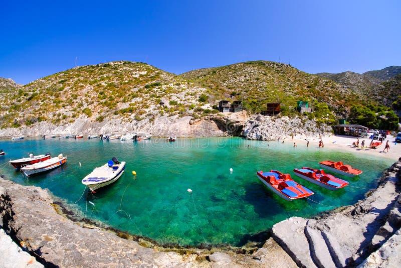 Porto Vromi het panorama van Baaizakynthos Toeristische aantrekkelijkheid omdat stock afbeelding