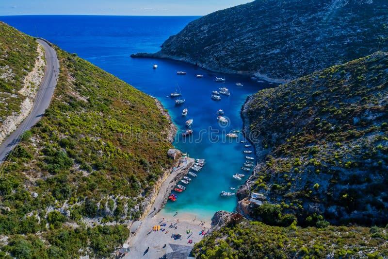 Porto Vromi strand het eiland in van Zakynthos (Zante), in Griekenland stock afbeelding