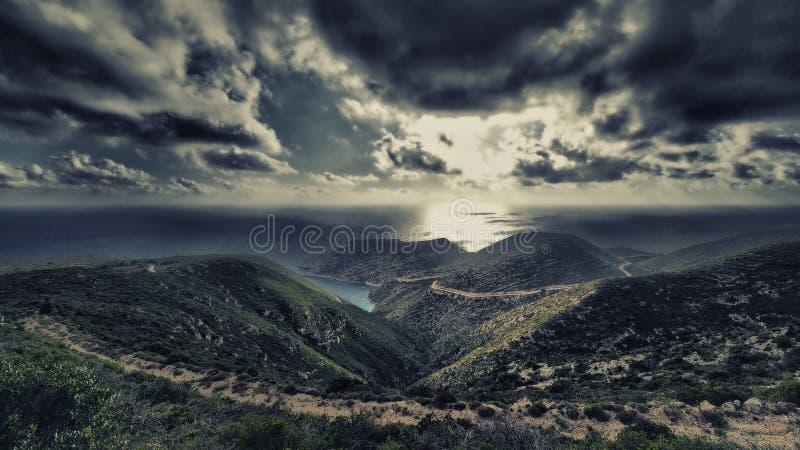Porto Vromi Zakynthos panorama met artistiek dramatisch effect app stock afbeeldingen