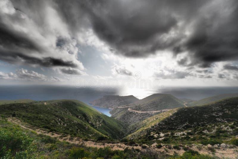 Porto Vromi Zakynthos panorama met artistiek dramatisch effect app royalty-vrije stock foto's