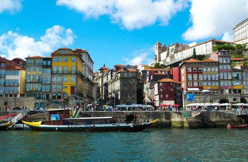 Porto Warerfront, Ribeira Huizen, Europese Cityscape, Stedelijke Kustlijn royalty-vrije stock foto's