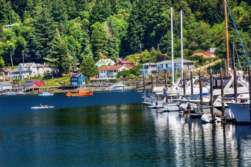Porto Washington della jola del kajak del porticciolo delle barche a vela immagini stock