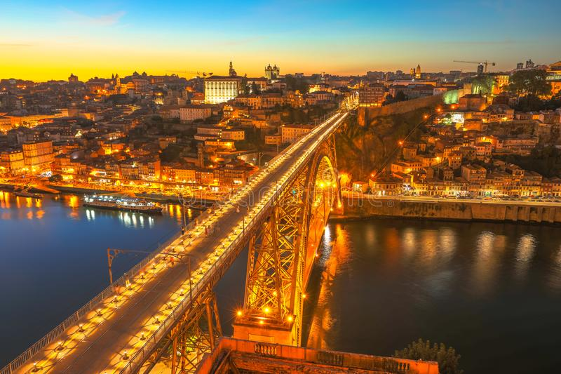 Porto zonsonderganghorizon royalty-vrije stock foto