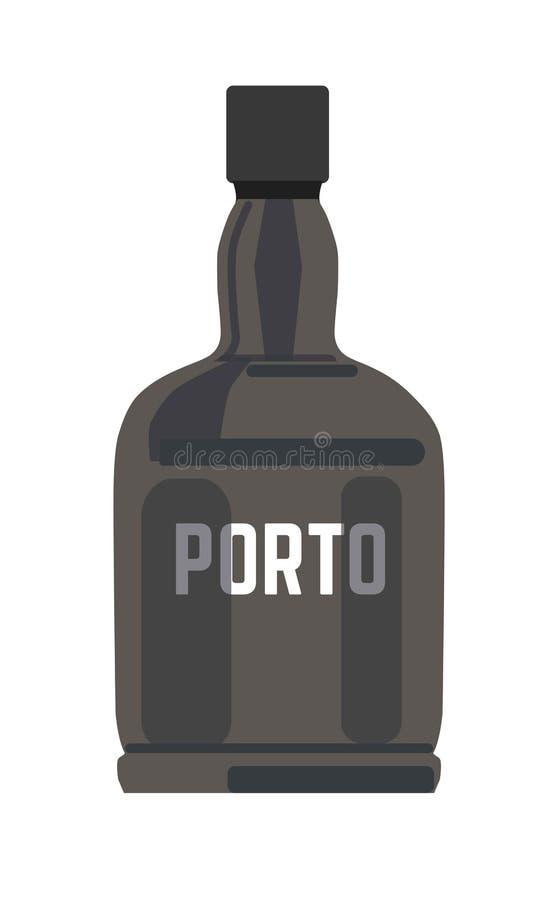 Porto in zwarte glanzende fles met zilveren teken vector illustratie