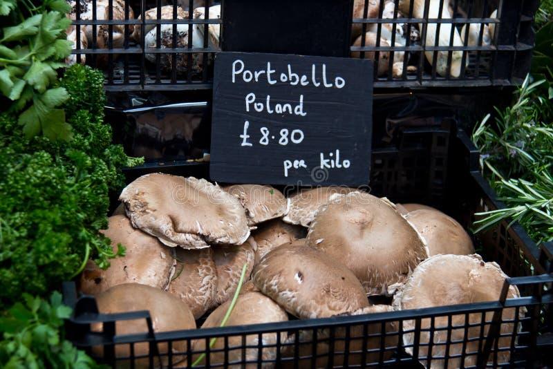 Portobello pieczarka dla sprzedaży przy warzywo rynkiem fotografia stock