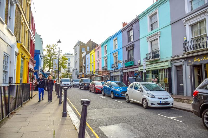 Portobello Road Market, a famous street in the Notting Hill, London, England, United Kingdom. Portobello Road Market, a famous street in the Notting Hill stock image