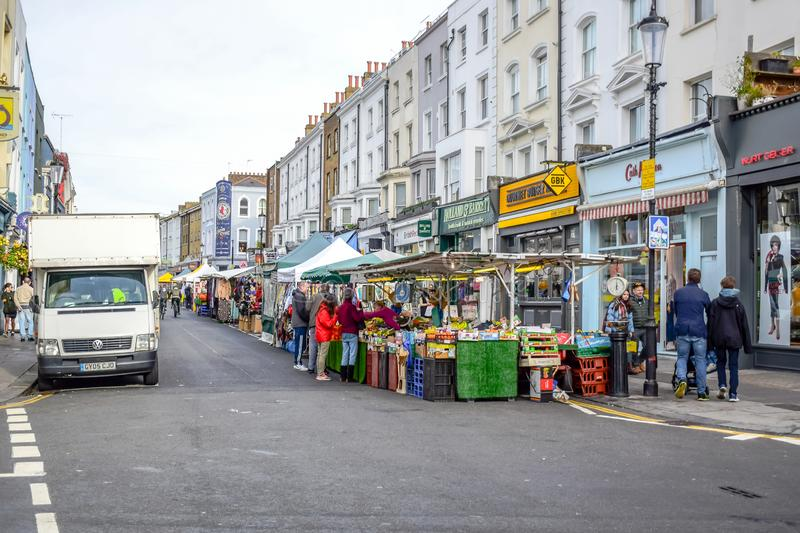 Portobello Road Market, a famous street in the Notting Hill, London, England, United Kingdom. Portobello Road Market, a famous street in the Notting Hill stock images