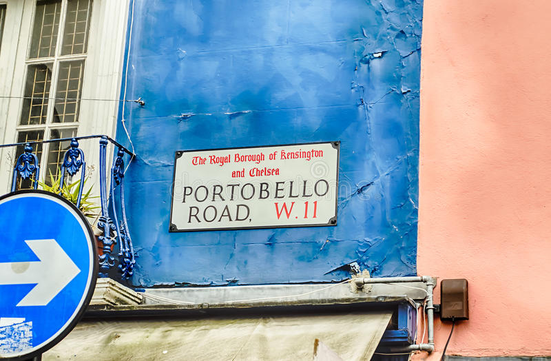 Portobello Road Sign in Notting Hill, London. UK royalty free stock photography
