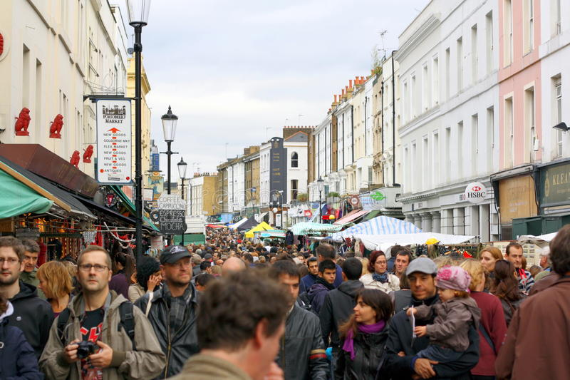Portobello Straßen-Markt lizenzfreie stockbilder