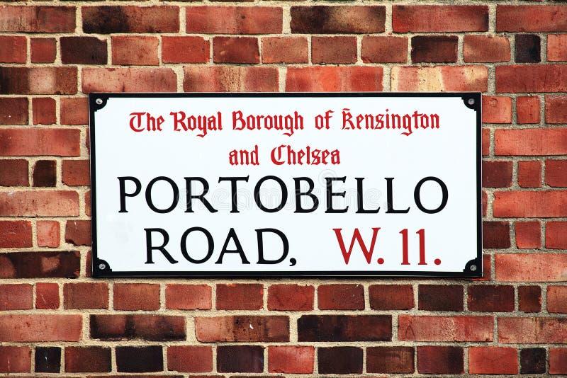 Portobello vägmärke arkivfoto