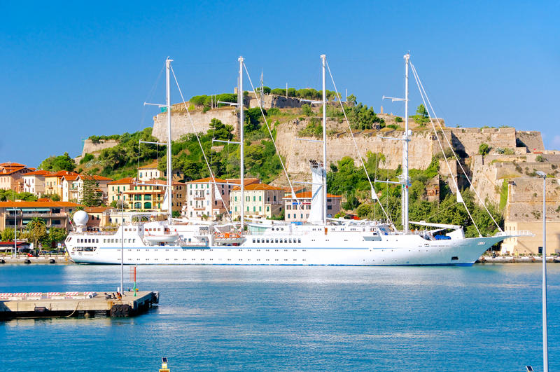 Portoferraio harbor on Elba Island, Italy royalty free stock image