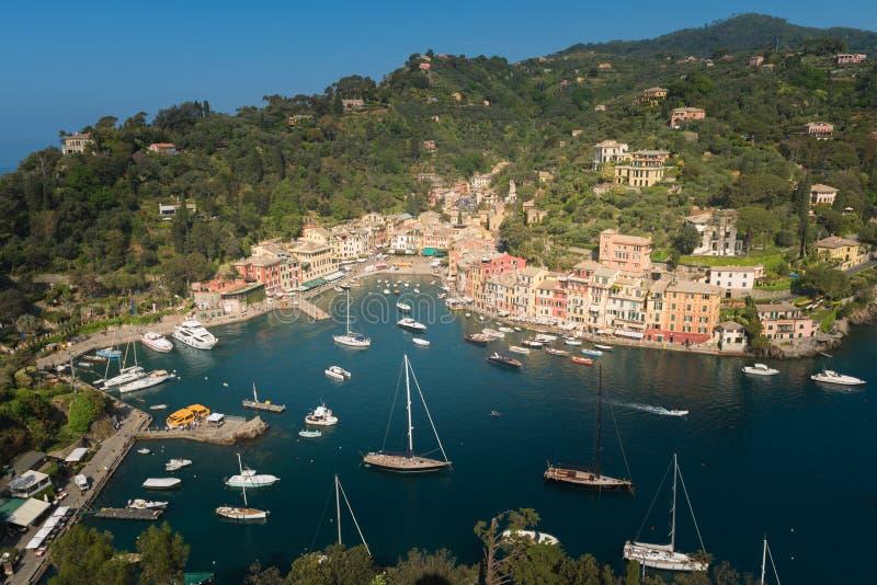 Portofino ett italienskt fiskeläge, Genua landskap, Italien royaltyfria bilder