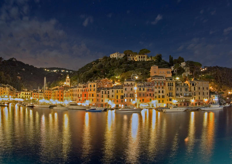 Download Portofino Harbor At Night, Italy Stock Photo - Image: 18966868