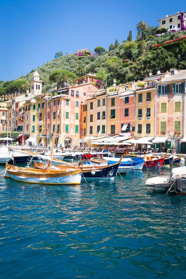 Portofino, Itália - verão 2016 - vista do mar imagens de stock royalty free