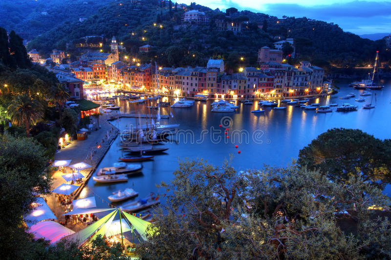 Portofino at night, Italy. Portofino is the most exclusive harbour and resor town in Italy. It is located on Ligurian coast near Genoa, at the tip of a peninsula