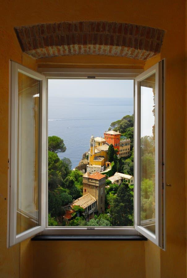 portofino okno zdjęcie stock
