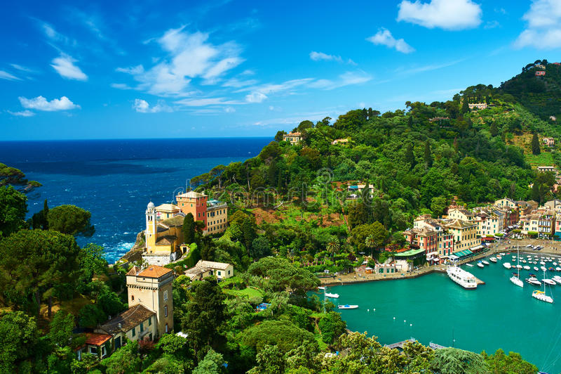 Portofino by på den Ligurian kusten, Italien arkivfoto