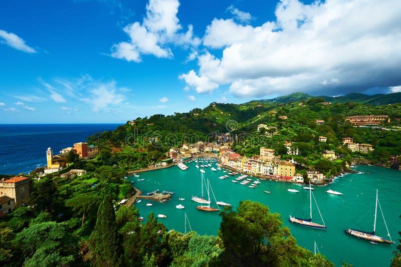 Portofino by på den Ligurian kusten, Italien royaltyfri bild