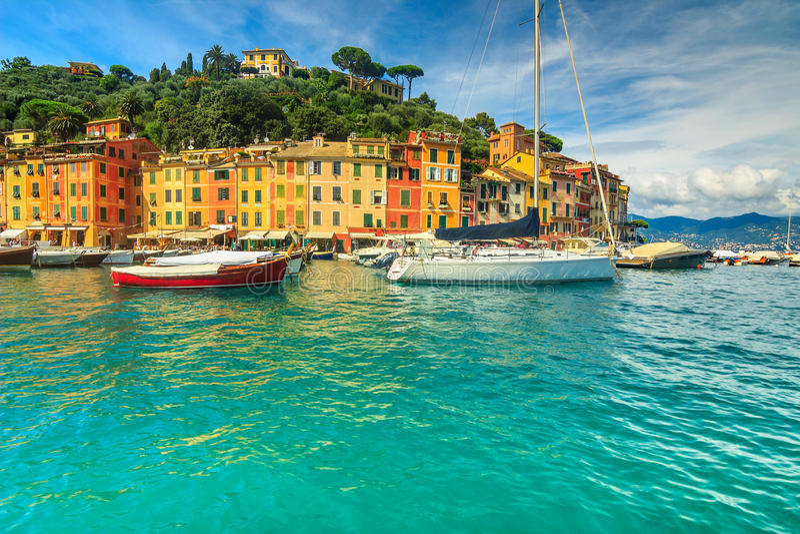Portofino panorama,luxury harbor and colorful houses,Liguria,Italy,Europe royalty free stock image