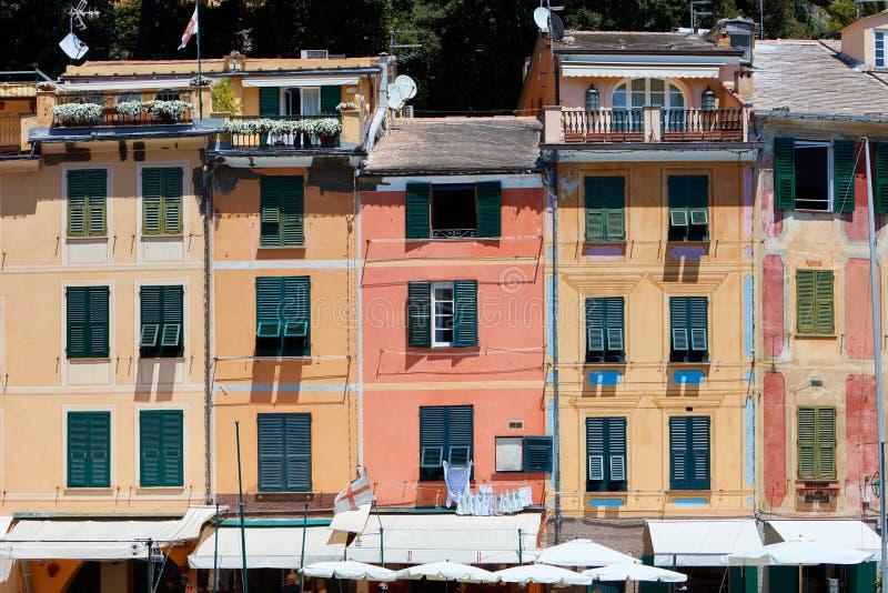 Portofino piękna wioska z kolorowymi fasadami w Włochy fotografia royalty free