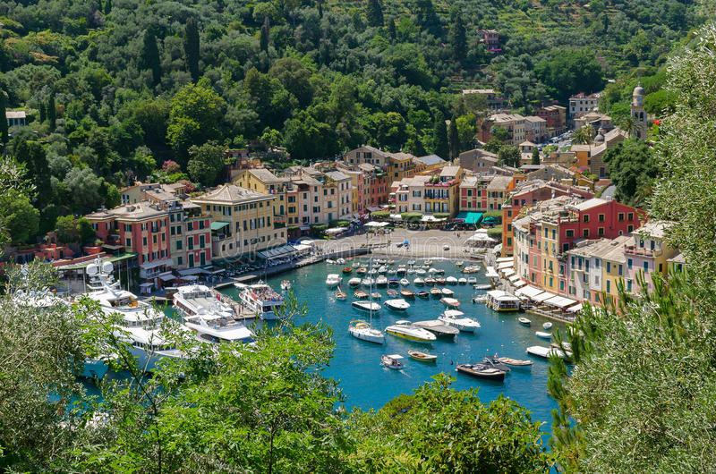 Portofino stad i Italien arkivfoto