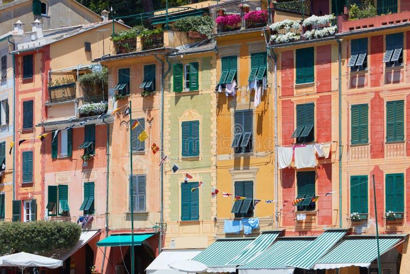 Portofino typowa piękna wioska z kolorowymi budynkami w Włochy fotografia royalty free