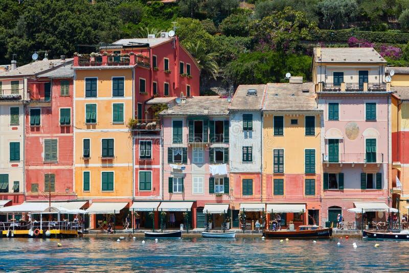 Portofino typowa piękna wioska z kolorowymi fasadami, Włochy fotografia royalty free