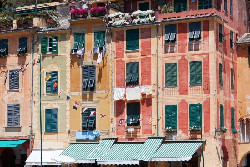 Portofino typowa piękna wioska z kolorowymi fasadami w Italy zdjęcie royalty free