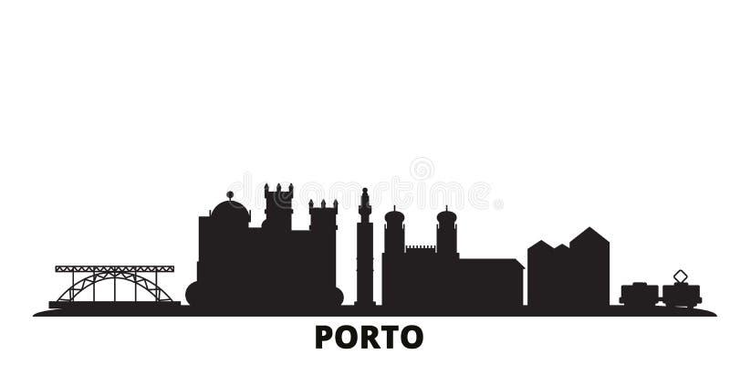 Portogallo, Porto City skyline, illustrazione vettoriale isolata Portogallo, Porto Travel Black City royalty illustrazione gratis