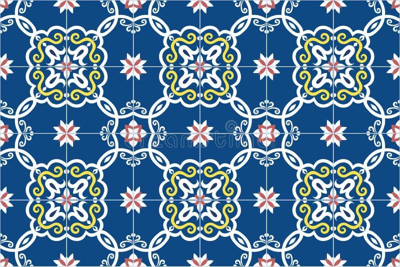 Portoghese decorato tradizionale ed il brasiliano piastrellano i azulejos in blu, in giallo ed in rosa Mattonelle di talavera del illustrazione vettoriale