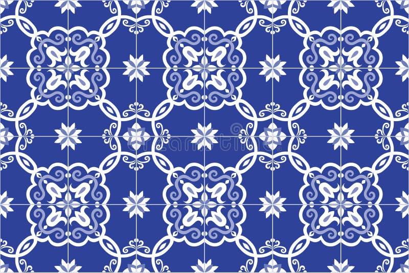 Portoghese decorato tradizionale ed il brasiliano piastrellano i azulejos in blu Illustrazione di vettore illustrazione vettoriale