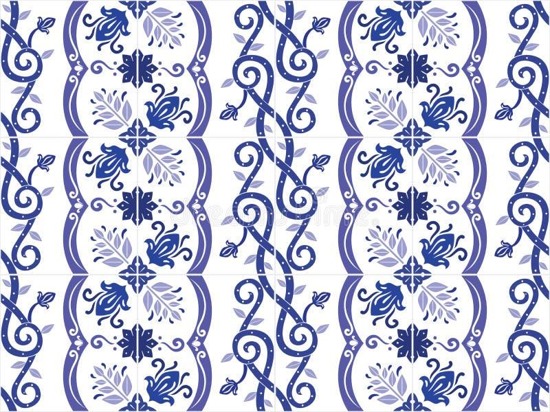 Portoghese decorato tradizionale ed il brasiliano piastrellano i azulejos Illustrazione di vettore illustrazione vettoriale