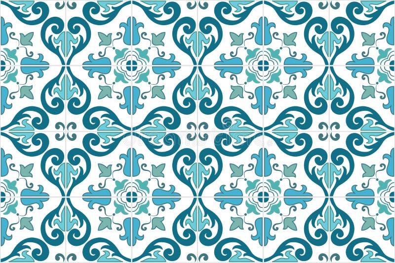 Portoghese decorato tradizionale ed il brasiliano piastrellano i azulejos Illustrazione di vettore illustrazione di stock