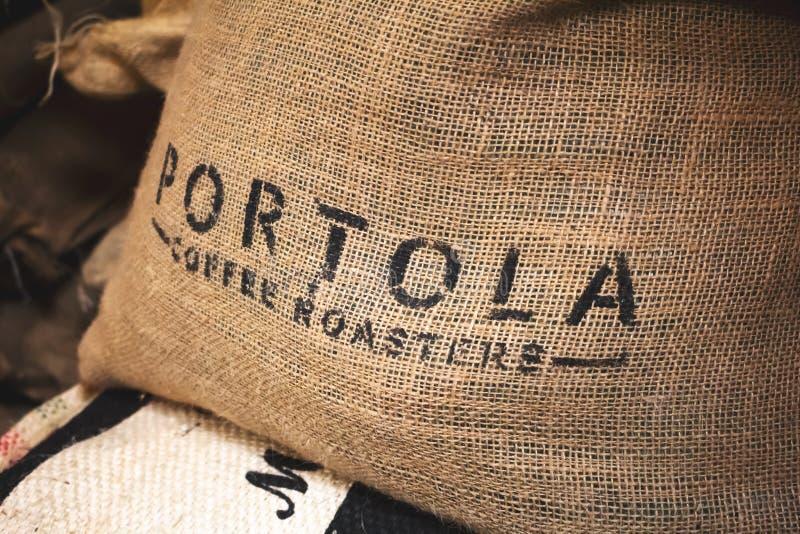 Portola-Kaffeeröster-Leinwandsack stockbild