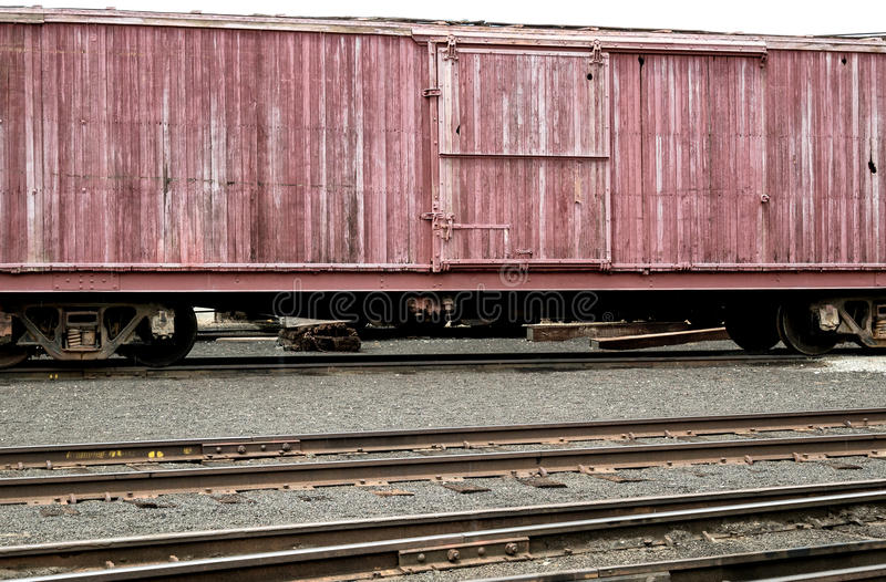 Portola Railroad Museum. Vintage boxcar at Portola, California stock photography